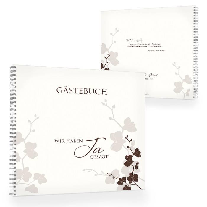 Gästebuch zur Hochzeit mit floralem Design in Creme