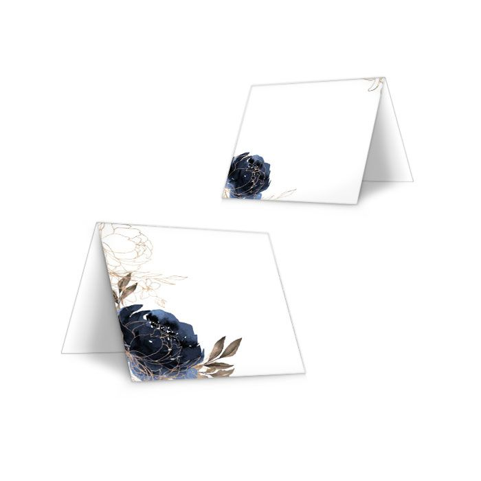 Tischkarte Hochzeit, blaue Aquarellblume - zum Beschriften