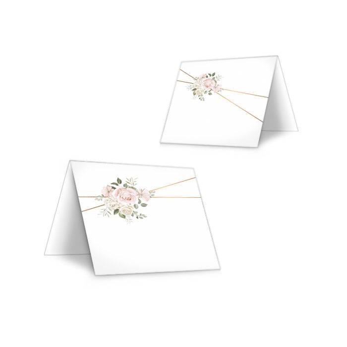 Tischkarte mit Aquarellrosen in Rosa zum selbst Beschriften