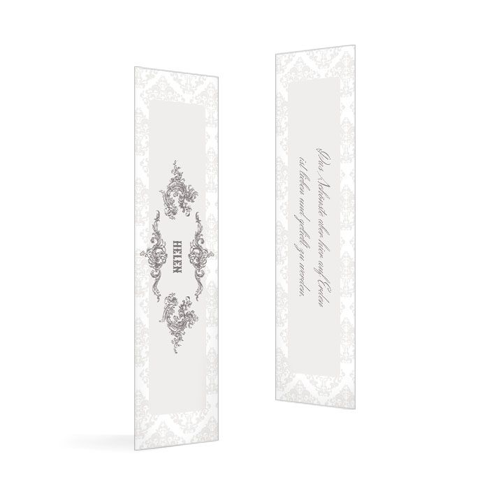 Tischkarte zur Hochzeit  mit eleganten Ornamenten in Grau