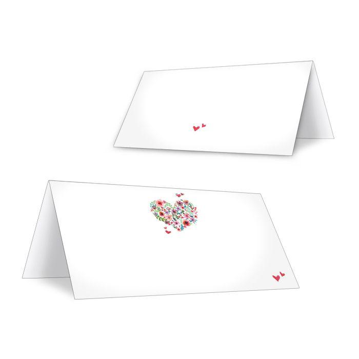 Romantische Tischkarten mit Herz aus bunten Blumen