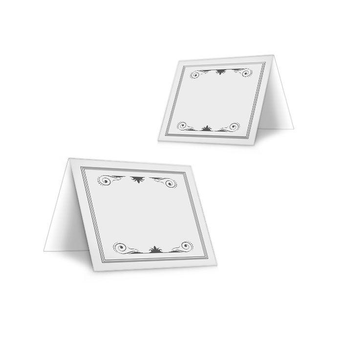Schlichte Tischkarten in Grau mit schmückenden Ornamenten