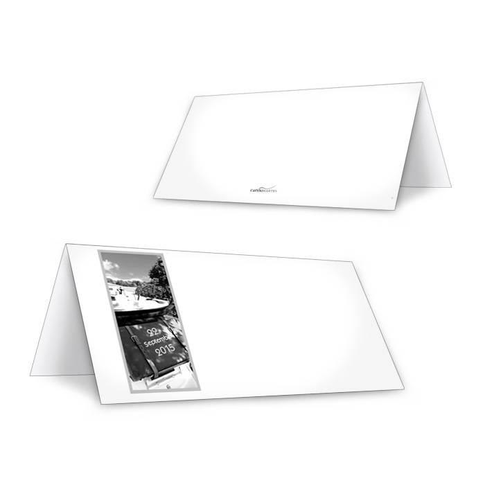 Schlichte Tischkarten zur Hochzeit in Weiß mit Ihrem Foto