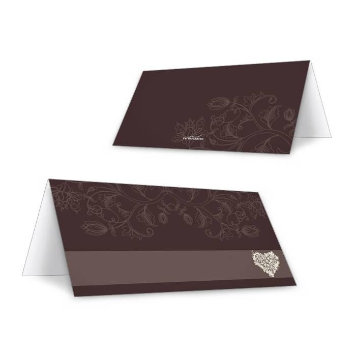 Elegante Tischkarte zur Hochzeit mit Herz in Dunkelbraun