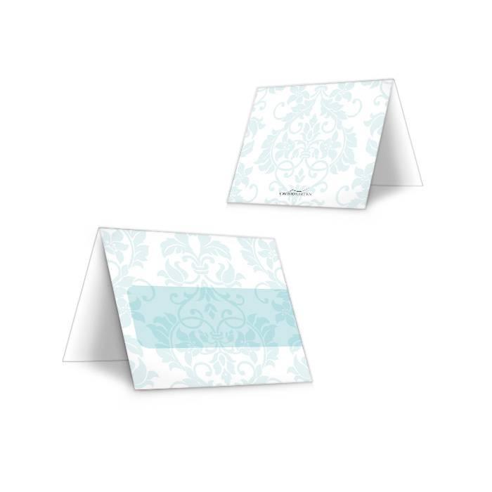 Tischkarten zur Hochzeit mit barockem Design in Minz
