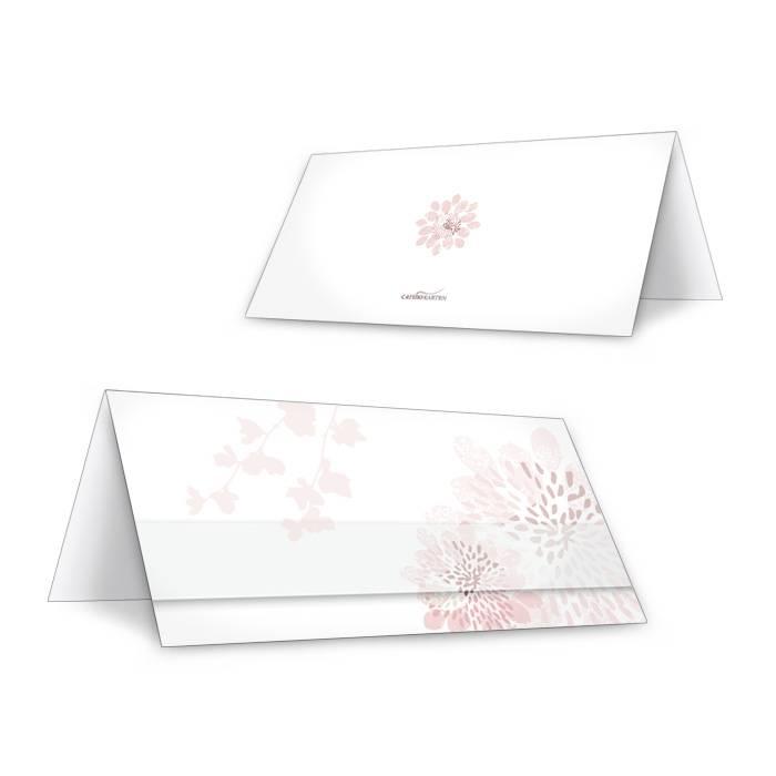 Tischkarte zur Hochzeit in Altrosa mit Blütenmuster
