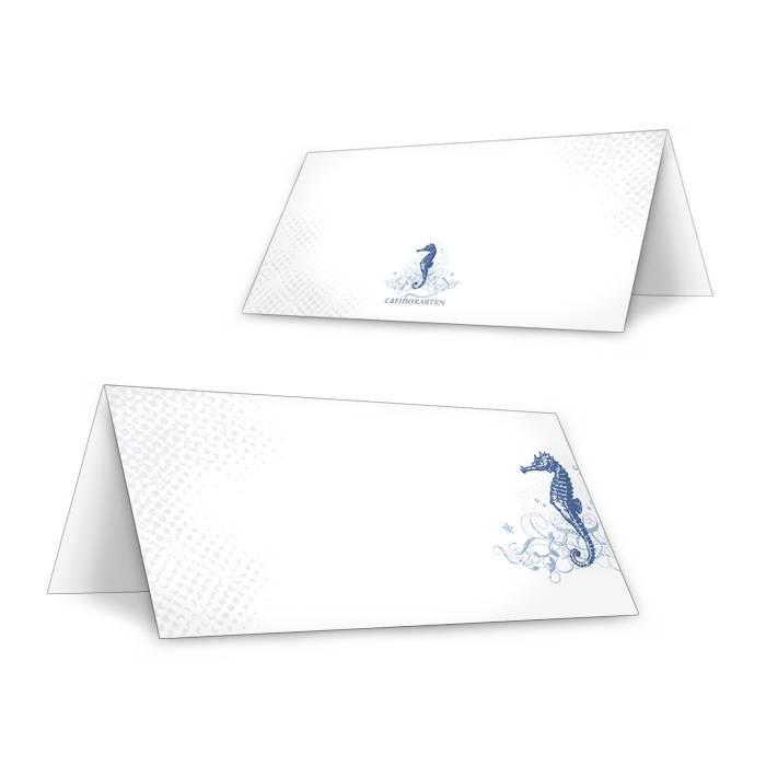 Tischkarten zur maritimen Hochzeit mit Seepferdchen in Blau