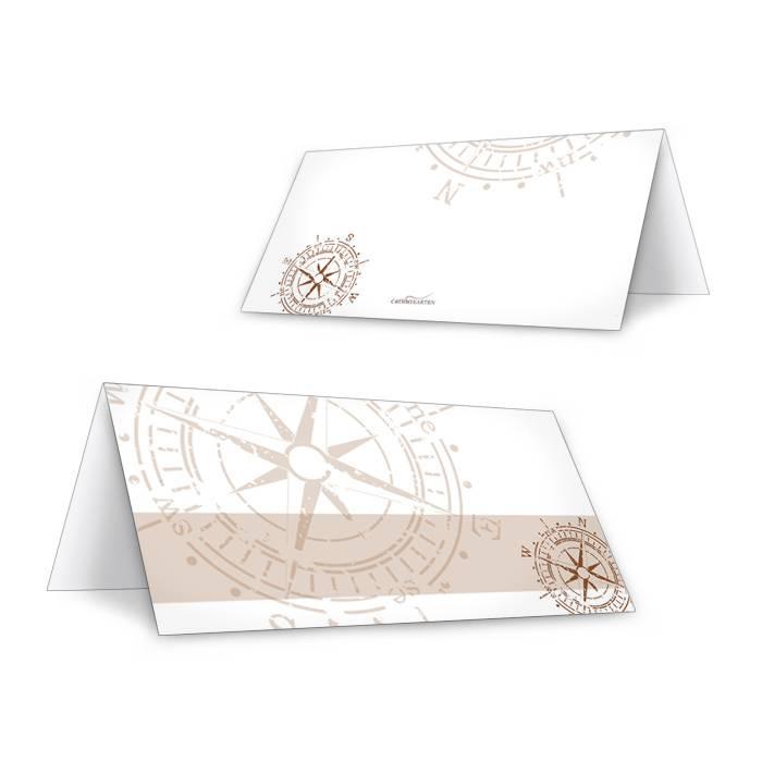 Maritime Tischkarte zur Hochzeit in Braun mit antikem Kompass