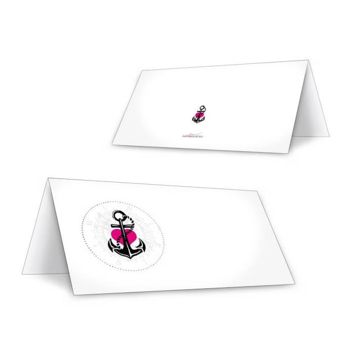 Tischkarten zur maritimen Hochzeit mit Anker und pinkem Herz
