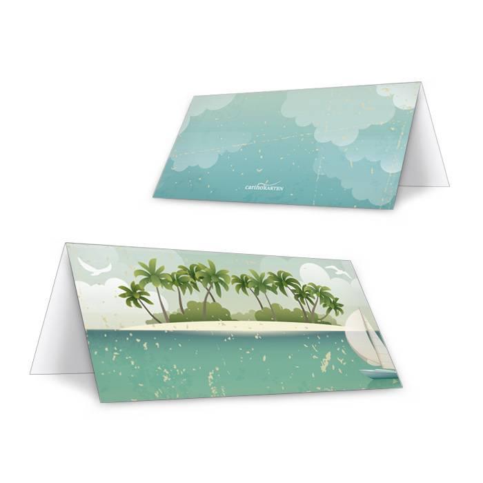 Maritime Tischkarte zur Hochzeit mit Inselmotiv und Palmen