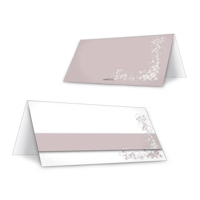 Florale Tischkarten zur Hochzeit in Weiß und Altrosa