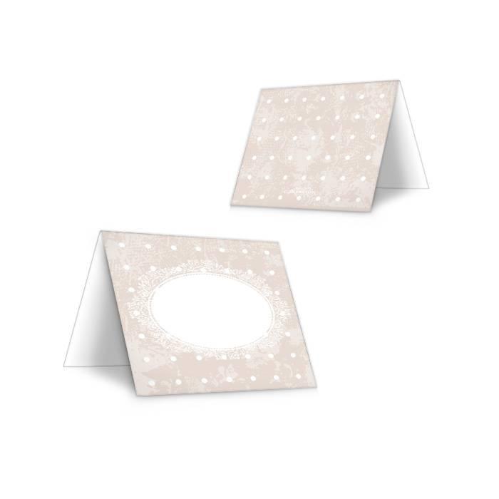 Romantische Tischkarte zur Hochzeit mit Punktedesign in Sand