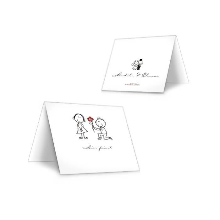 Witzige Tischkarten zur Hochzeit mit Comic Brautpaar