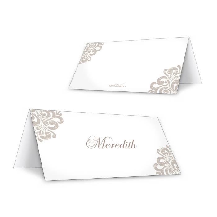 Elegante Tischkarte zum Personalisieren mit barockem Muster