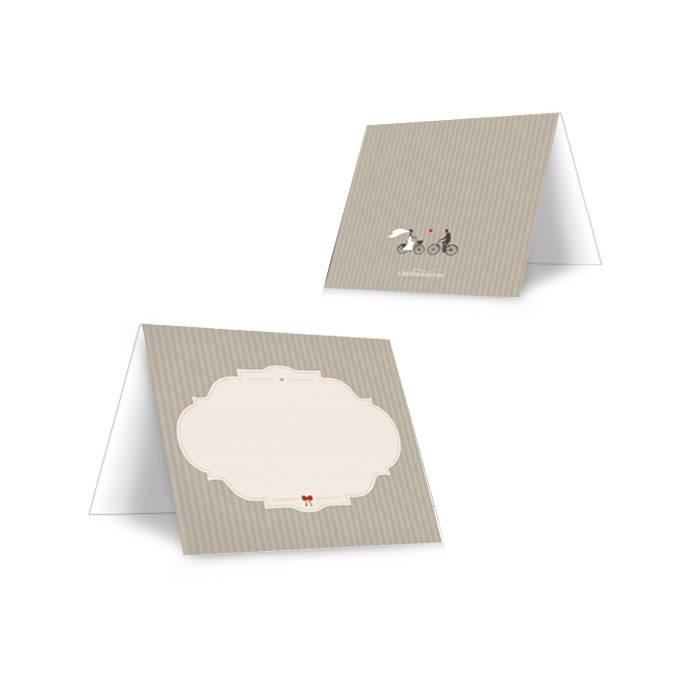 Tischkarten zur Hochzeit mit Retro Tandem Motiv in Grau