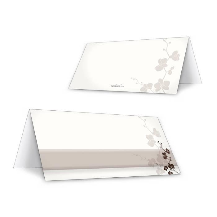 Tischkarte zur Hochzeit in Creme Weiß mit floralem Muster