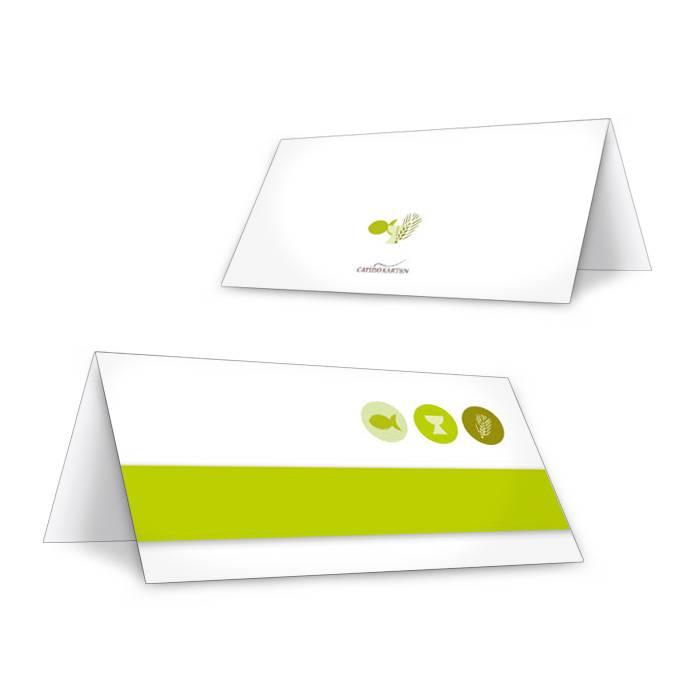 Tischkarte zur Konfirmation und Kommunion in Grün