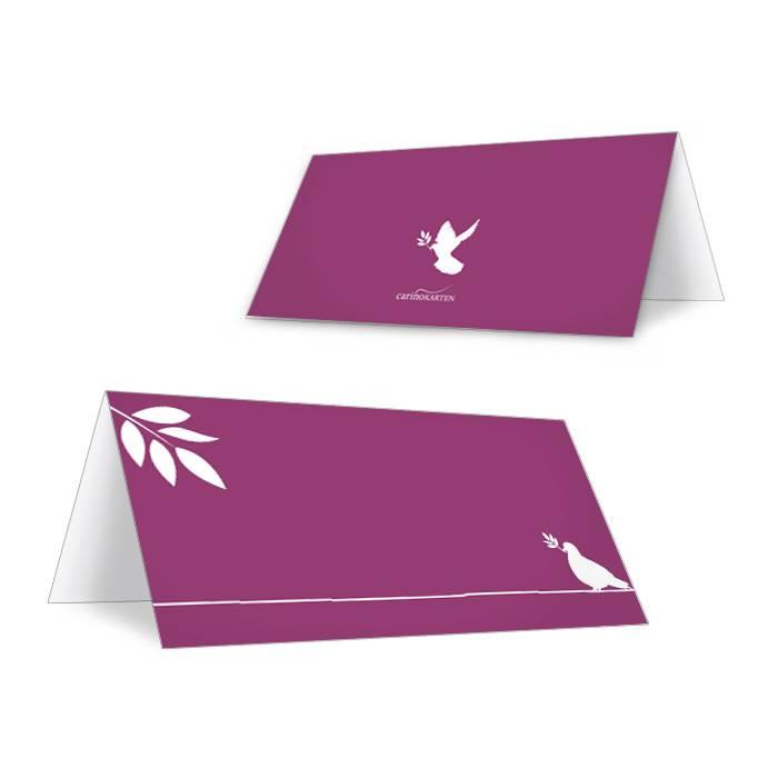 Tischkarte zur Konfirmation und Kommunion Brombeer mit Taube