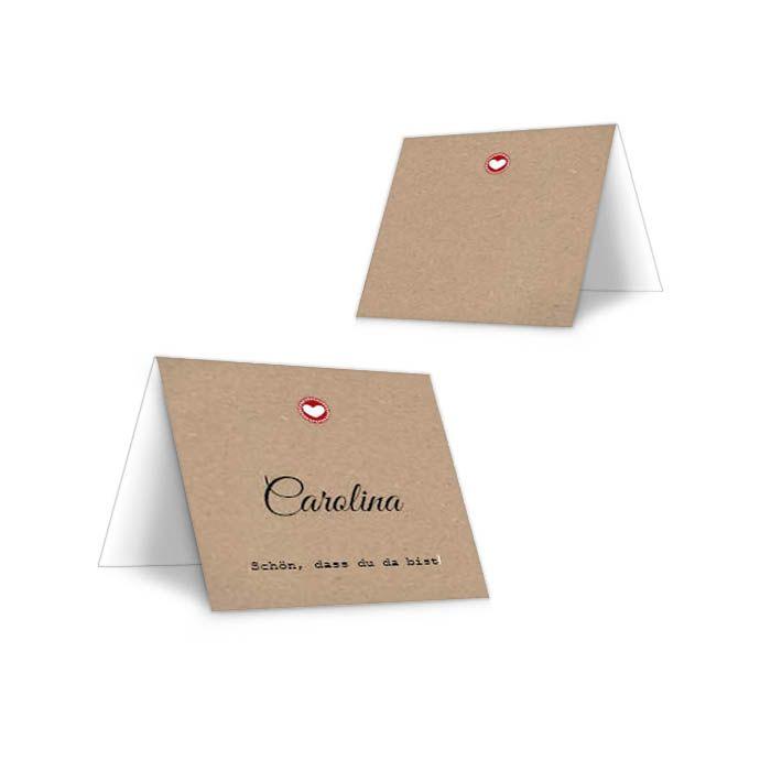 Personalisierbare Tischkarte zur Hochzeit im Kraftpapierstil