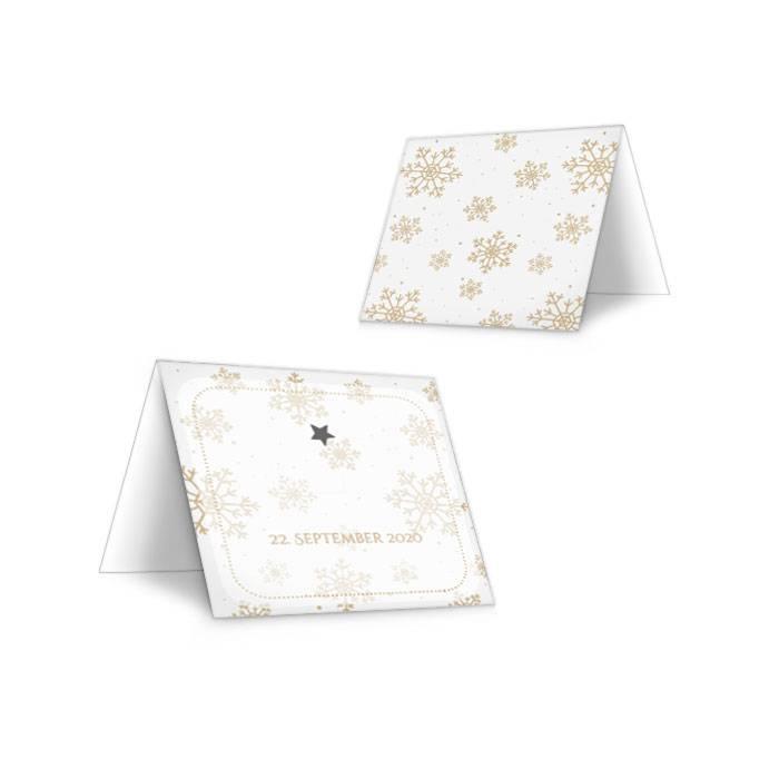 Tischkarten zur Hochzeit mit goldenen Schneeflocken