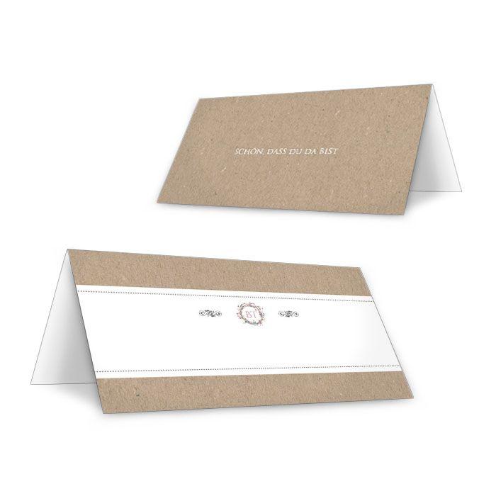 Tischkarte zur Hochzeit in Kraftpapieroptik mit Blüten