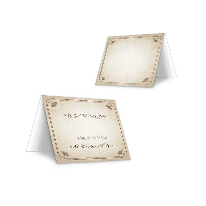 Verspielte Tischkarte zur Hochzeit im Shabby Chic Stil