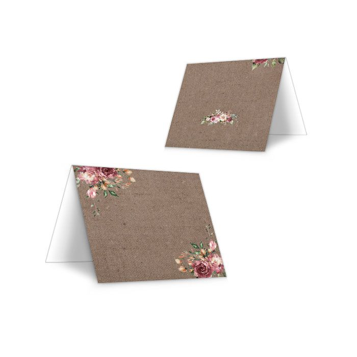 Tischkarte zur Hochzeit in Juteoptik mit rosa Blüten