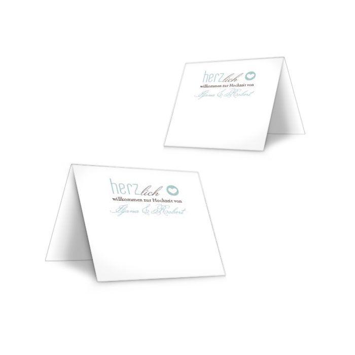 Moderne Tischkarte zur Hochzeit mit Herz in Mint und Weiß