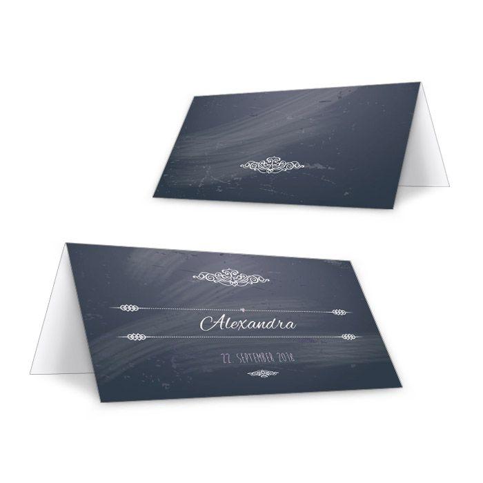 Personalisierbare Tischkarten zur Hochzeit in Schieferoptik