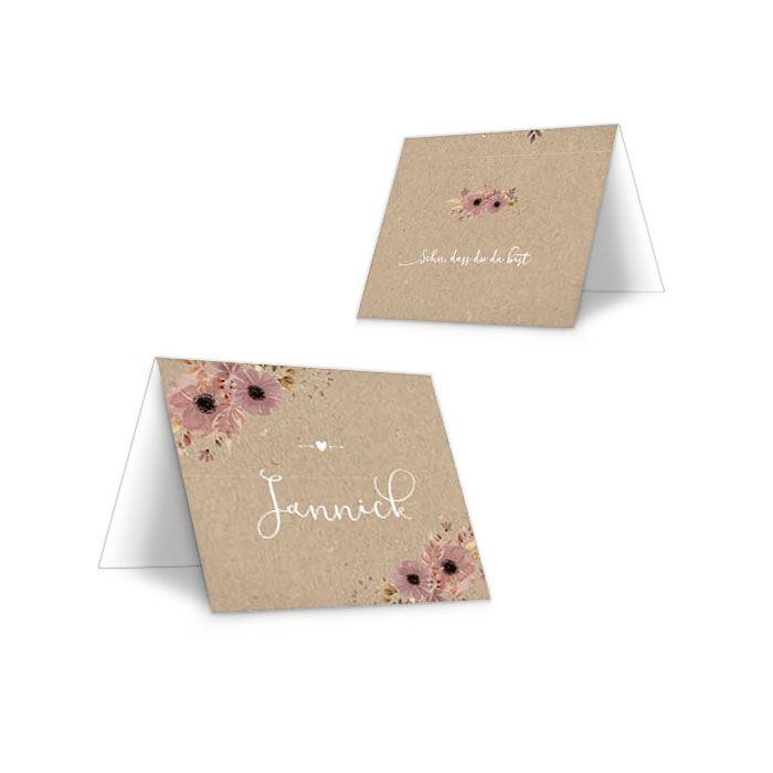 Personalisierbare Tischkarte in Kraftpapieroptik mit Blumen
