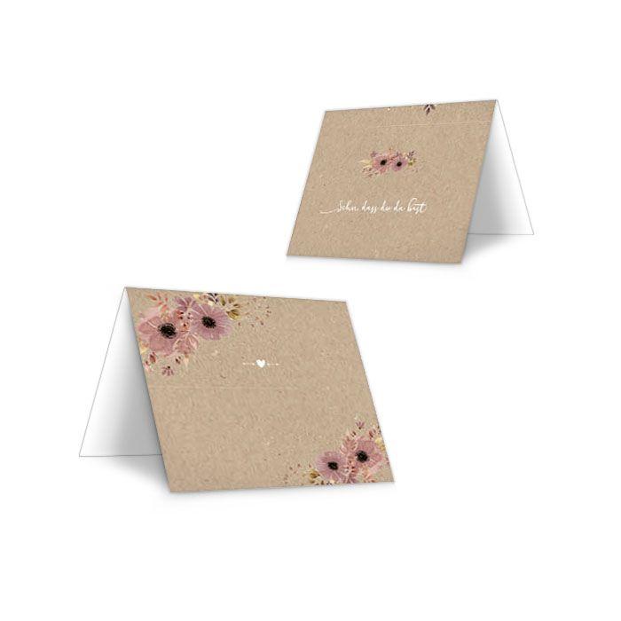 Tischkarten in Kraftpapieroptik mit Aquarellblumen in Rosa
