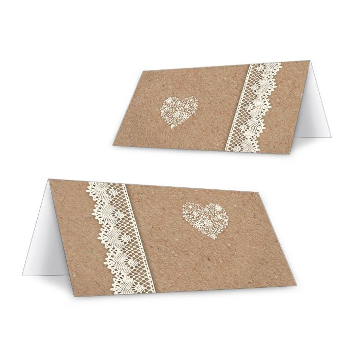 Tischkarte im Landhausstil mit gedruckter Spitzenbordüre