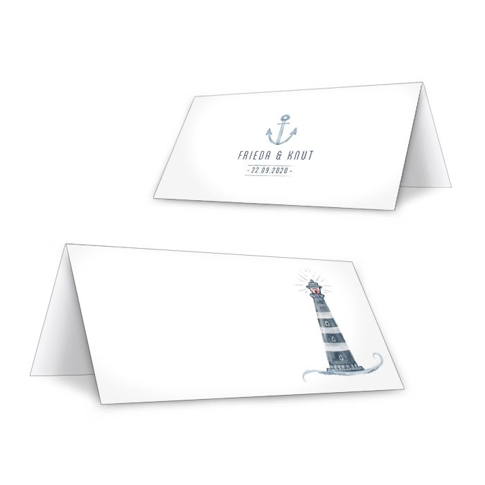 Tischkarte mit Leuchtturm-Design zur maritimen Hochzeit