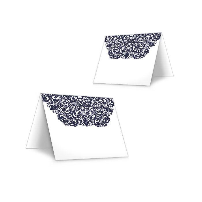 Edle Tischkarte zur Hochzeit mit barockem Ornament in Blau