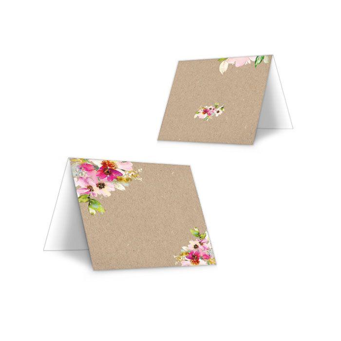 Tischkarte zur Hochzeit in Kraftpapieroptik mit bunten Blumen