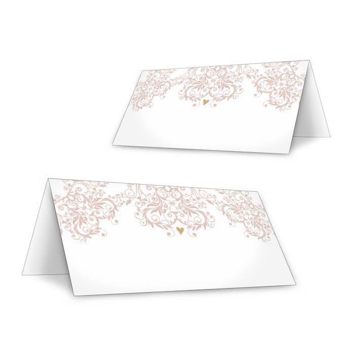 Tischkarten zur Hochzeit mit eleganten Ornamenten in Rosa