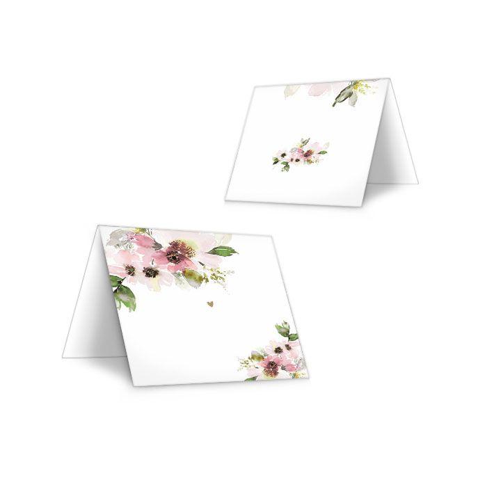 Tischkarte mit floralen Aquarelldesign zum Beschriften