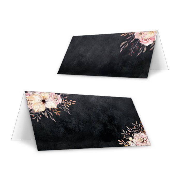 Edle Tischkarten zur Hochzeit in Schieferoptik mit Blumen