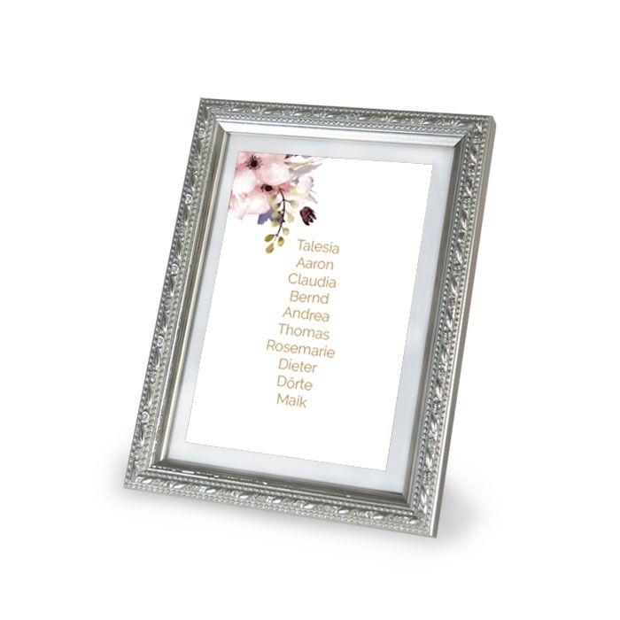 Tischkarte mit Gästenamen und zarten Aquarellblumen