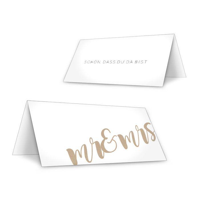 Moderne Tischkarte zur Hochzeit mit Mr und Mrs Schriftzug