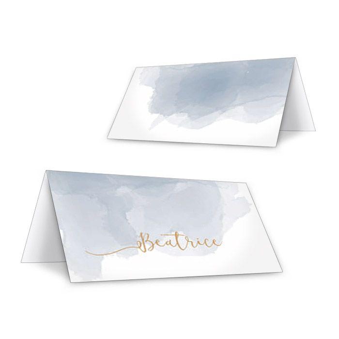 Personalisierbare Tischkarten in Blau im Aquarellstil