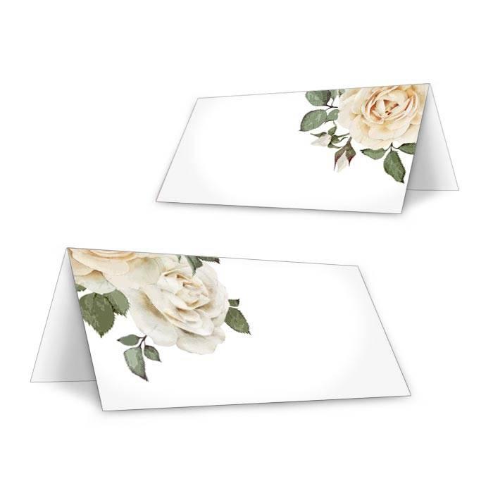 Tischkarten zur eleganten Hochzeit mit weißen Rosen