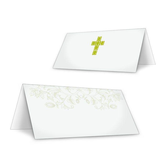 Tischkarte zur Konfirmation oder Kommunion mit grünem Kreuz