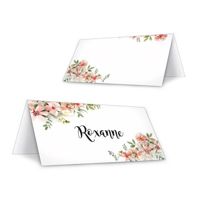 Personalisierbare Tischkarte mit Aquarellblumen in Lachs
