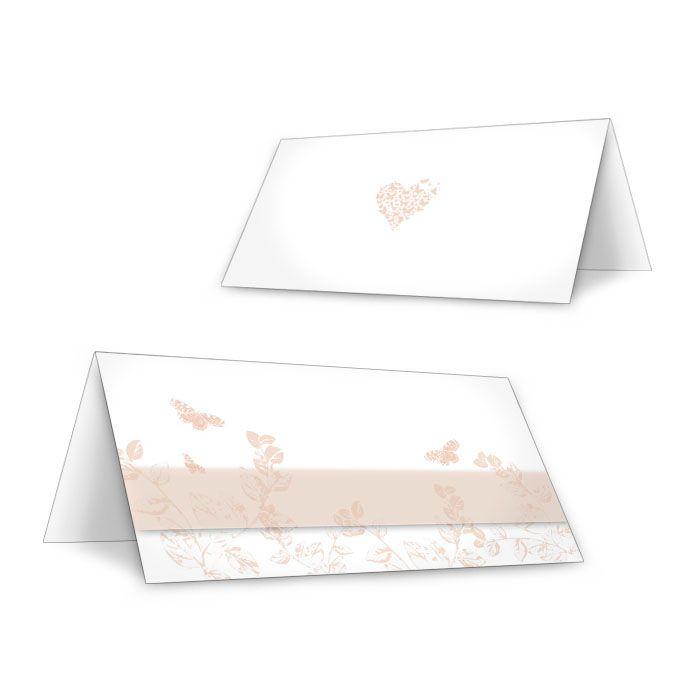 Süße Tischkarten zur Hochzeit mit Schmetterlingen in Apricot
