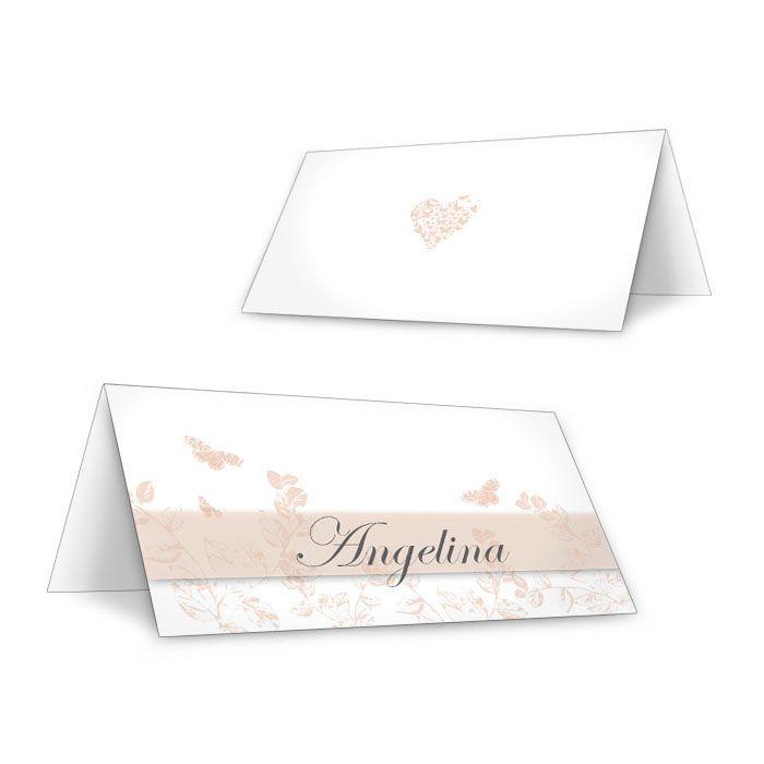 Personalisierbare Tischkarten zur Hochzeit mit Schmetterlingen