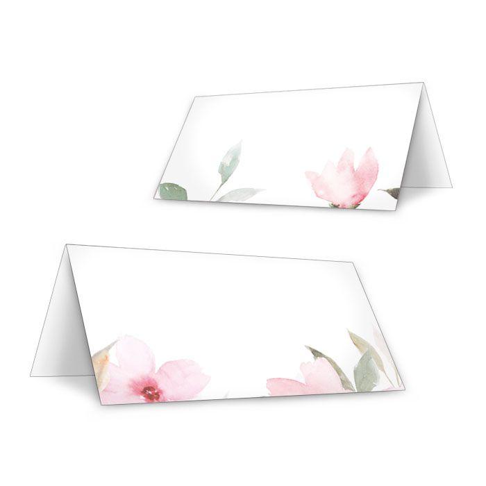 Tischkarten zur Hochzeit zum Beschriften mit rosa Blumenmotiv