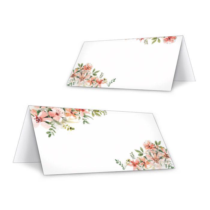 Tischkarte zur Hochzeit mit Aquarellblumen in Lachs
