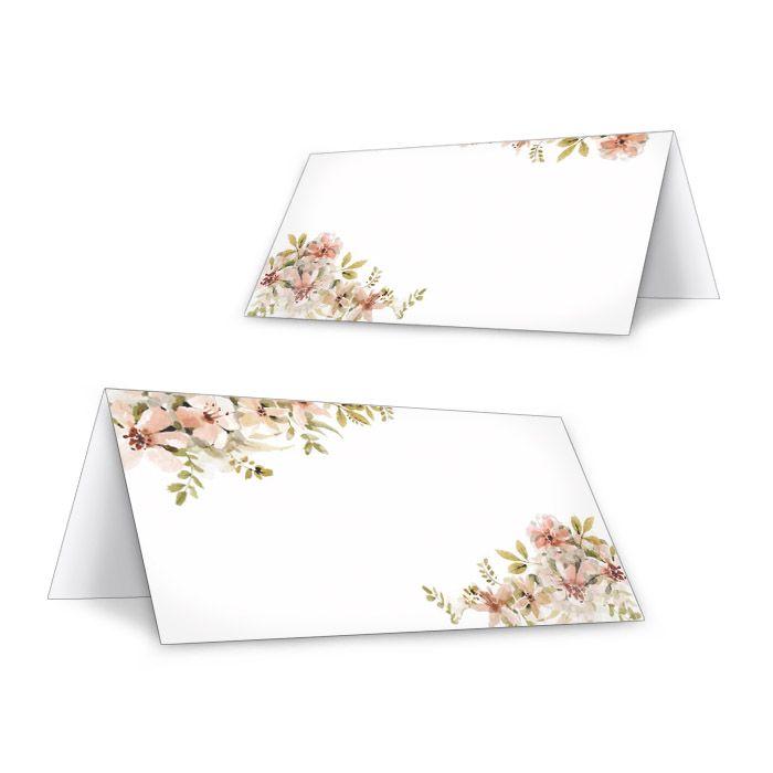 Tischkarte zur Hochzeit mit Aquarellblumen in Nude