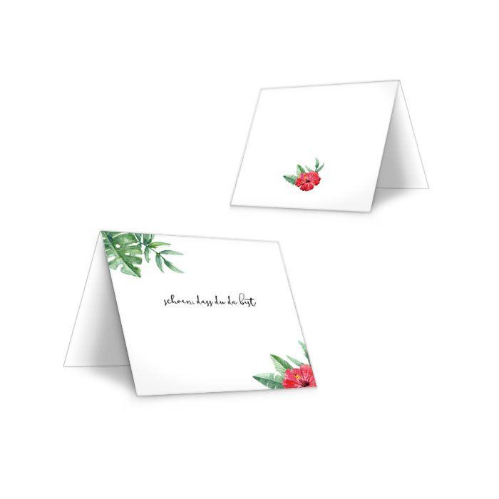 Tischkarte zur Hochzeit mit Lotusblume und Monstera Blättern